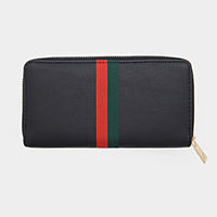 Faux Leather Two Tone Stripe Zipper Wallet