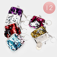 12PCS- Sequin Keychain Coin Purse