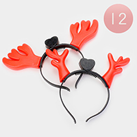 12PCS - Rudolph Heart Christmas Light Up Headbands