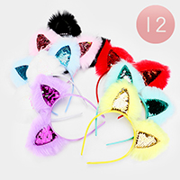 12PCS - Fluffy Sequin Cat Ear Headbands
