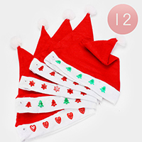 12PCS - Christmas Santa Red Hat