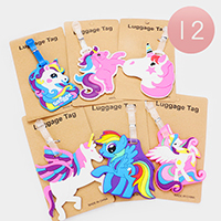 12PCS - Cute Unicorn Character Luggage Tags