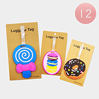 12PCS - Cute Donut Macaron Mirror Luggage Tags