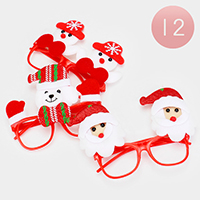 12PCS - Christmas Doll Ornamented Lensless Glasses