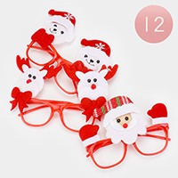 12PCS - Christmas Santa Doll Ornamented Lensless Glasses