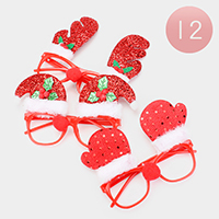 12PCS - Shimmery Christmas  Ornamented Lensless glasses