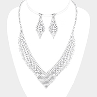 Marquise Pave Crystal Rhinestone V Collar Necklace