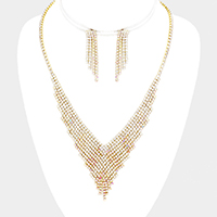 Pave Crystal Rhinestone V Collar Necklace
