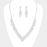 Pave Crystal Rhinestone V Necklace