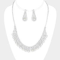 Crystal Rhinestone Pave Pearl Round Necklace