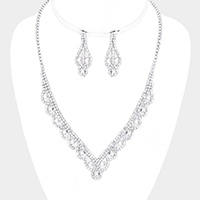Crystal Rhinestone Pave Teardrop V Collar Necklace