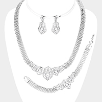 3PCS - Crystal Rhinestone Pave Metal Necklace Set