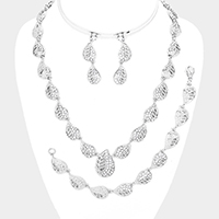 3PCS - Crystal Rhinestone Teardrop Station Metal Necklace Set