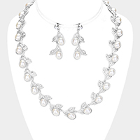 Rhinestone Pave Pearl Fruit Leaf Necklace