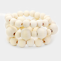 3PCS - Wood Ball Ribbon Stretchable Bracelets