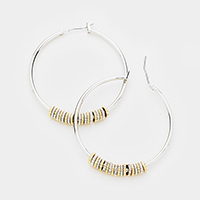 Tiny Ring Detailed Metal Hoop Pin Catch Earrings