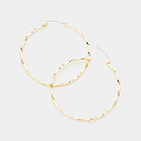 14K  Gold Filled Twisted Metal Hoop Pin Catch Earrings