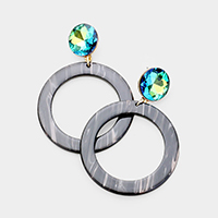 Cut Out Circle Celluloid Acetate Link Earrings