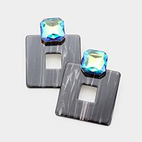 Cut Out Square Celluloid Acetate Crystal Earrings