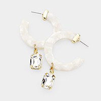 Cut Out Round Celluloid Acetate Crystal Dangle Earrings