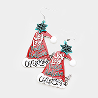 Enamel Santa Hat Snowflake Dangle Earrings