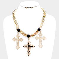 Crystal Embellished Cross Chain Necklace