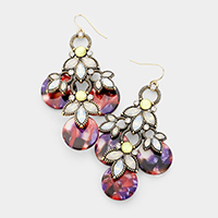 Crystal Marquise Accented Celluloid Acetate Earrings