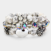 3PCS Multi Glass Beaded Shamballa Pave Stretch Bracelets