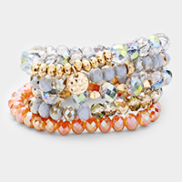 5PCS Multi Glass Beaded Round Disc Stretch Bracelets