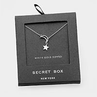 Secret Box _White Gold Dipped Cubic Zirconia Moon Star Pendant Necklace
