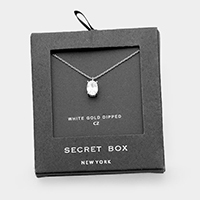 Secret Box _White Gold Dipped Cubic Zirconia Oval Pendant Necklace