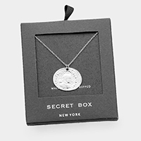 Secret Box _ White Gold Dipped  Coin Pendant Necklace