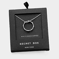 Secret Box _ 14k White Gold Dipped Ring Pendant Necklace