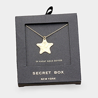 Secret Box _ 14K Gold Dipped Hammered Star Pendant Necklace