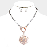 Crystal Embellished Pendant Chain Necklace