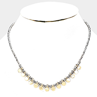 Round Disc Fringe Choker Necklace