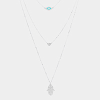Triple Layered Crystal Evil Eye Hamsa Hand Pendant Necklace