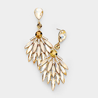 Marquise Stone Cluster Evening Earrings
