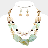 Abstract Natural Stone Braid Cord Bib Necklace