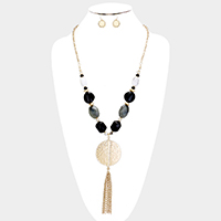 Faceted Natural Stone Metal Disc Tassel Pendant Necklace