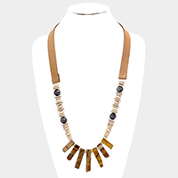 Semi Precious Abstract Wood Leather Necklace