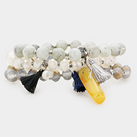 3PCS Quartz Tassel Beaded Bracelets