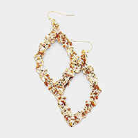 Glittering Textured Cut Out Marquise Earrings
