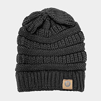 Solid Knitted Hashtag Beanie Hat