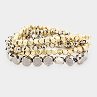 4 PCS - Multi Beaded Stackable Stretch  Bracelets