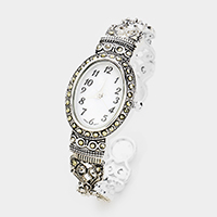 Oval Dial Crystal Filigree Metal Cuff Watch