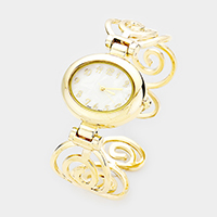Oval Dial Metal Swirl Cuff Watch