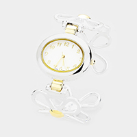 Oval Dial Metal Floral Cuff Watch