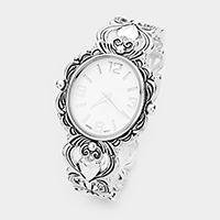 Oval Dial Designer Look Metal Floral Cuff Watch