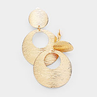 Textured Metal Disc Clip On Earrings